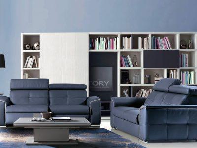 Canapé relaxation électrique, avec tétière inclinable. Il se décline dans de nombreuses configurations, coloris et matières