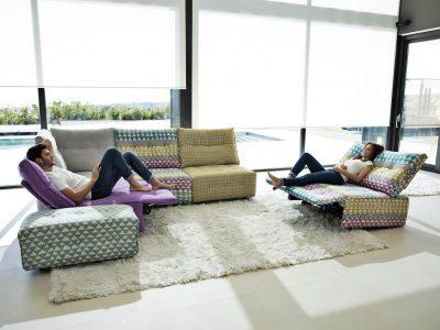 Salon modulable relaxation électrique, disponible dans de nombreux coloris et motifs de trissu, et entièrement configurable selon vos envies