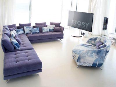 Canapé tissu capitonné coloré, disponible en multiples configurations, dimensions, tissus et coloris allie design tendance et confort.