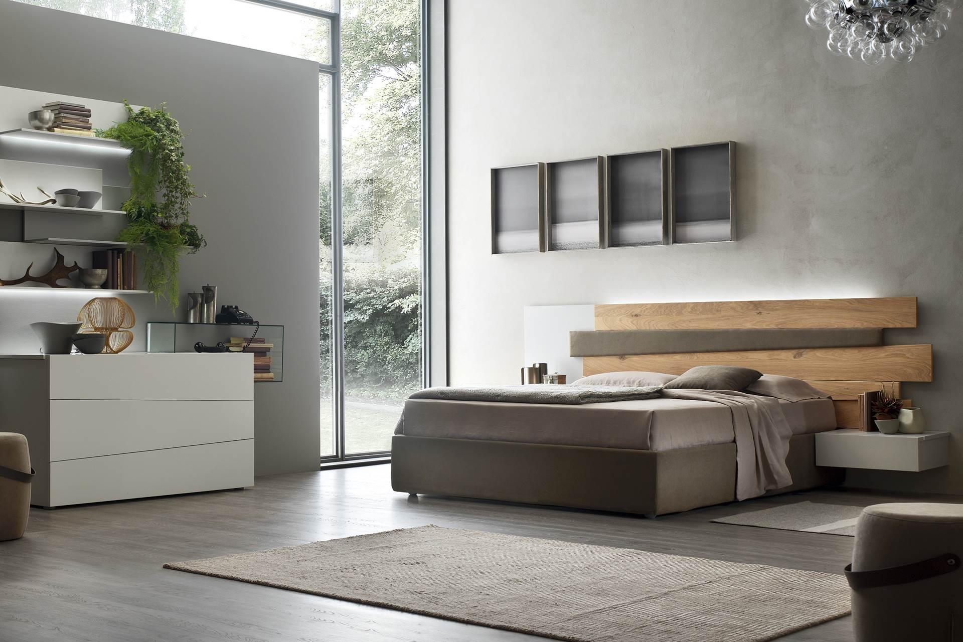 Chambre laque et chêne massif bois marron gris - Story