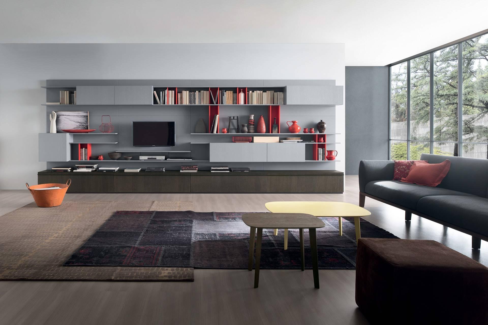 Composable salon séjour compo tv gris rouge wenge - Story