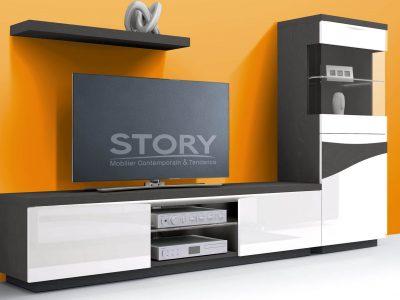 Composition TV laque et bois. Cette composition au design sobre et épuré existe en plusieurs dimensions et coloris de laque et bois