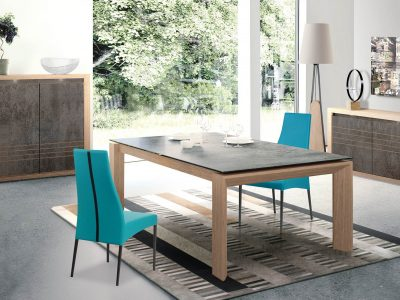 Séjour bois et céramique ou verre laqué. Il existe dans de multiples coloris et différentes dimensions. Nombreux meubles de complément