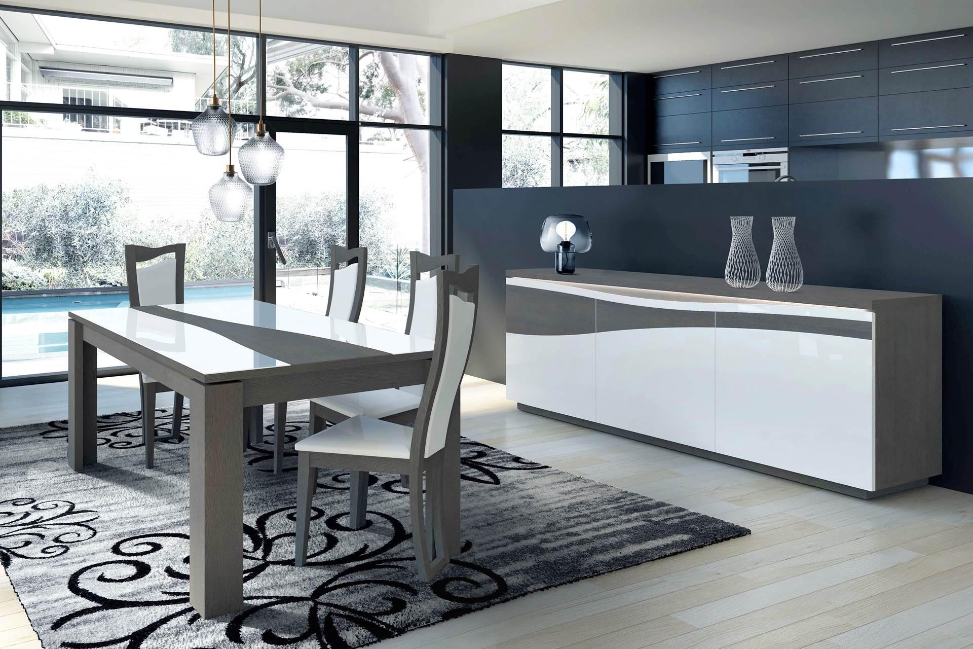 S jour pur laque et bois table enfilade chaises for Sejour contemporain design