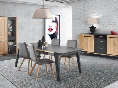 Ce séjour bois et laque, style industriel, propose de nombreux meubles de complément