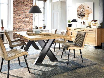 Séjour chêne massif de style factory avec piètement métal, qui donnera à votre pièce à vivre un style industriel. Existe dans différentes teintes de bois