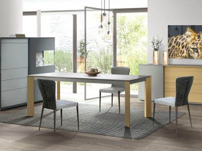 Séjour contemporain laque et bois, qui associe deux matières pour apporter élégance à votre intérieur