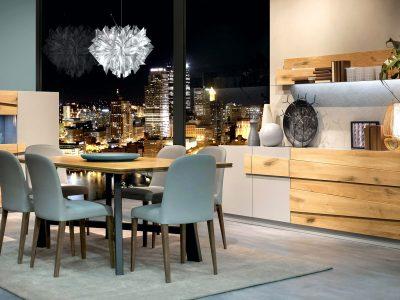 Ce séjour design laque et chêne massif apportera un aspect contemporain et une ambiance chaleureuse grâce à ses parties en bois