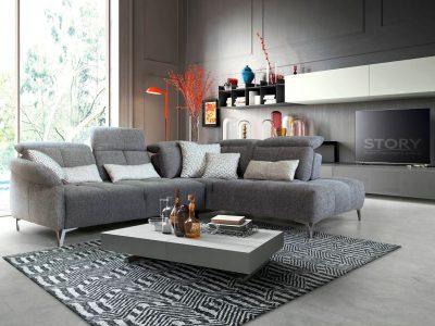 Canapé tissu pied chromés gris- STORY