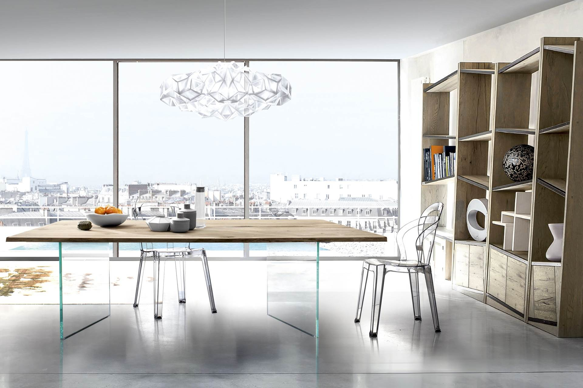 Table plateau bois massif pieds verre story Table de sejour en verre
