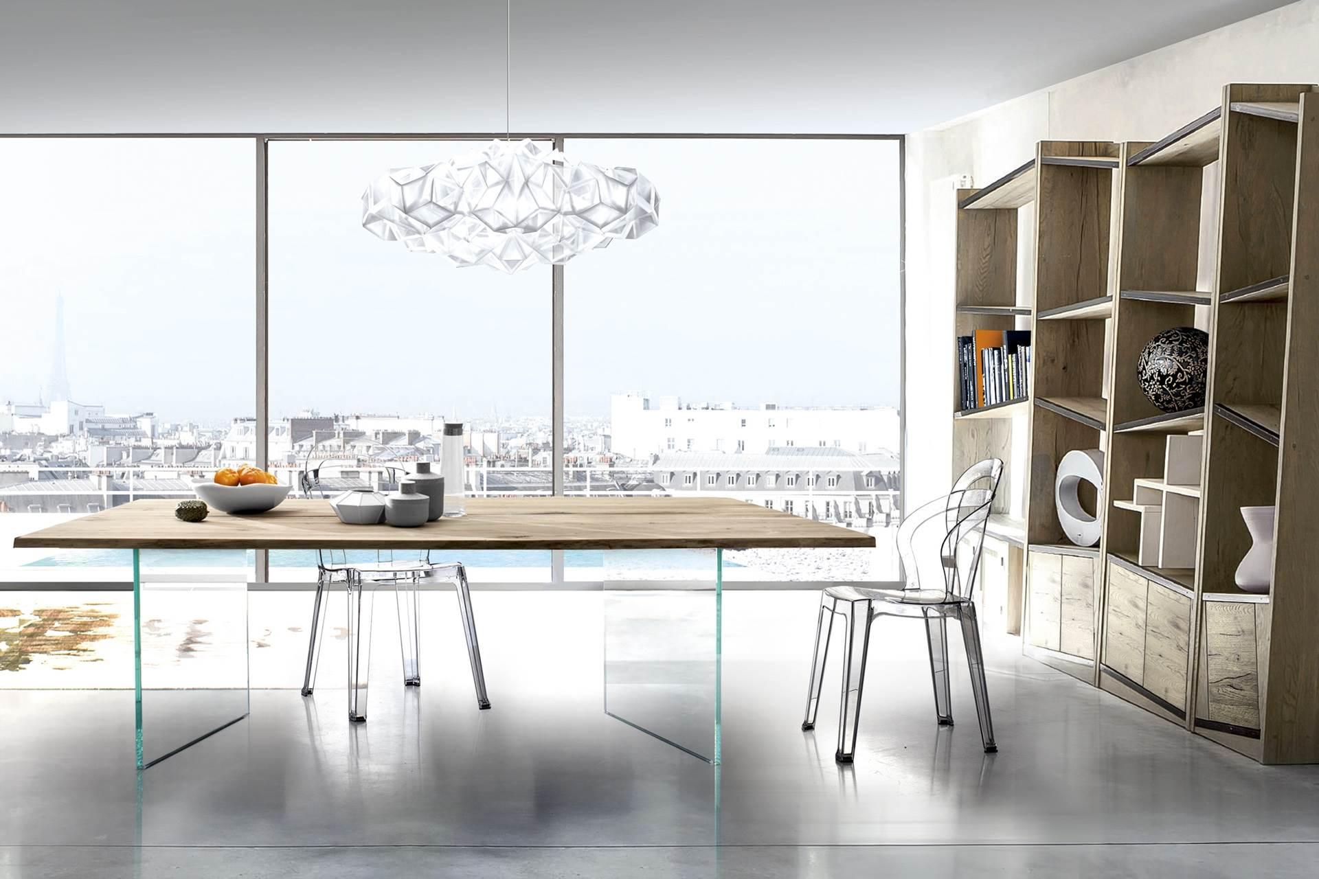 table plateau bois massif pieds verre story. Black Bedroom Furniture Sets. Home Design Ideas