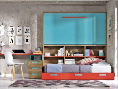 Cette chambre avec lit rabattable présente l'avantage d'être entièrement modulable et conçu pour optimiser au mieux l'espace.