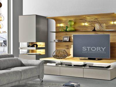 Ce composable TV laque et chêne, original par sa forme, apportera un aspect contemporain par la laque et chaleureux grâce au bois.