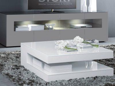 Ce meuble TV laqué, modulable et disponible dans de nombreux coloris, apportera un style très contemporain à votre intérieur.