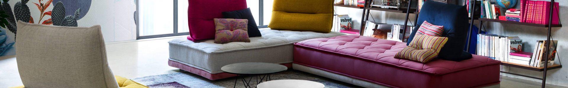 Ce salon modulable, aux dossiers coussins modulables, est entièrement personnalisable.