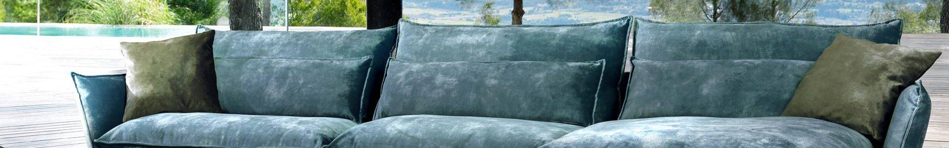 Salon tissu pieds métal chromés, vert, existe en nombreuses configurations et coloris