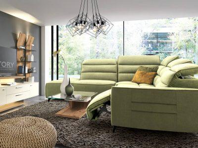 Canapé relaxation avec têtière relevable tissu vert STORY