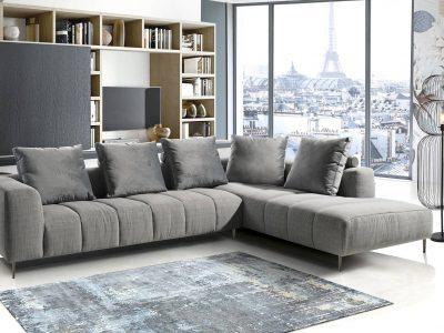 Ce canapé composable en coton et velours se décline en nombreux modules.