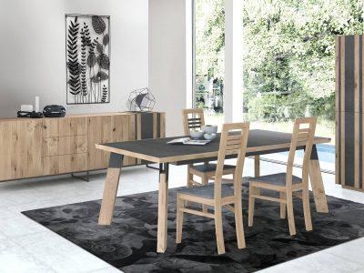 Ce séjour tendance, en bois et céramique, peut également se décliner en version bois et ardoise. Sobre et intemporel, il s'accorde avec tout type d'intérieur.