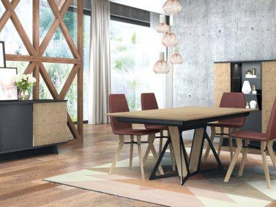 Ce séjour tendance laqué avec incrustations bois se décline en nombreux modules. Sa table, au piétement spectaculaire, existe en nombreuses versions.